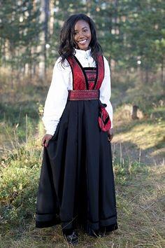 Bringedrakten bunad Norwegian dress, her face just glows beauty in that dress