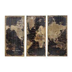World Map Wooden Plaque, Set of 3 | Kirklands