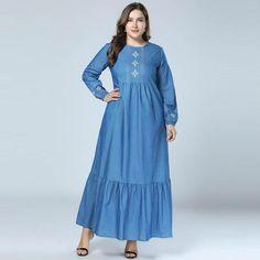 0fef1d03994 2018 Fashion Abayas Jean Muslim Dress Dubai abaya Denim marokkaanse kaftan  Embroidery islamic dresses for Women vestidos 3XL 4XL. Yesterday s price   US ...