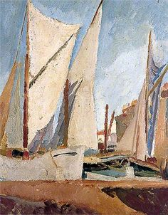 The Harbour, St Tropez, France by Vanessa Bell  ca.1921