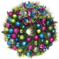 """SALE Bright Christmas Wreath Teal Blue, Pink, Lime Green Wreath XL 27"""" STUNNING"""
