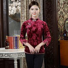 Amazing Claret Velvet Short Qipao Cheongsam Shirt - Chinese Shirts & Blouses - Women