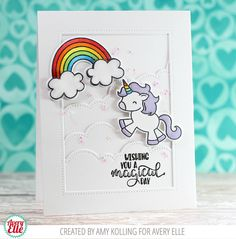 Avery Elle Clear Stamps, Be A Unicorn by Heather Campbell - Diy Unicorn Birthday Card, Girl Birthday Cards, Unicorn Cards, Rainbow Card, Animal Cards, Paper Cards, Folded Cards, Card Making Inspiration, Copics