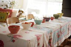 Vintage table cloths & latte bowls.