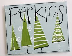 8x10 personalized holiday family name sign canvas. $28.00, via Etsy.