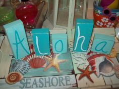 Beach decor Aloha blocks,shabby chic,beach cottage,beach bedroom decor,beach bathroom on Etsy, $10.00