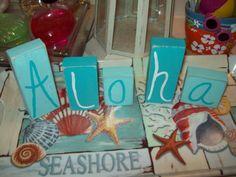 Beach decor Aloha blocks,shabby chic,beach cottage,beach bedroom decor,beach bathroom on Etsy, $10.00