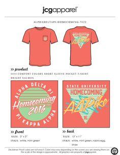 JCG Apparel : Custom Printed Apparel : Alpha Delta Pi Homecoming T-Shirt #adpi #alphadeltapi #homecoming #football #greek