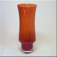 Riihimäen Lasi Oy / Riihimaki red glass vase, attributed to Tamara Aladin, labelled.
