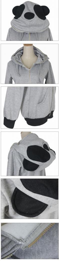 Hoodie Fleece Coat Sweatshirt Funky Panda