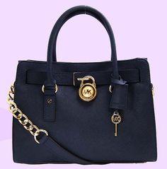 91f27c03fe673 MICHAEL KORS HAMILTON Navy Blue Saffiano Leather Satchel Shoulder Bag Msrp   298