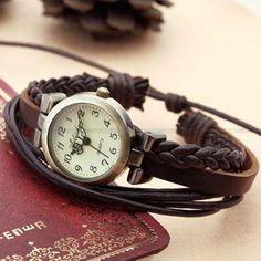 Ladies Fashion Weave Wrap Around Leather Retro Bracelet Woman Watch Hand-knit/brown