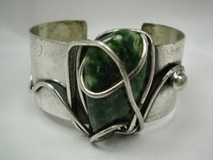 Cuff | Frank Rebajes.  Sterling silver & forest green and white freeform agate or turquoise stone.  ca. 1950s.