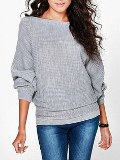 Chicnico Fashion Knit Bat Sleeve Solid Color Sweater