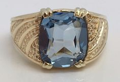 10K YELLOW GOLD 10.00CT CUSHION CUT BLUE TOPAZ MENS RING SIZE 14.5