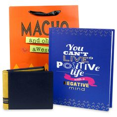 This unique gift hamper includes a mens wallet, a notebook and a paper gift bag. Hampers For Men, Gift Hampers, Birthday Hampers, Birthday Gifts, Paper Gift Bags, Positive Life, Unique Gifts, Notebook, Wallet