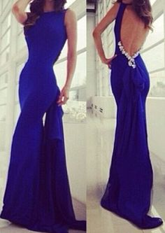 Unique Royal Blue Backless Mermaid Round Sweep Train Prom Dress Evening Dress With Back Beaded on Luulla Royal Blue Evening Dress, Royal Blue Prom Dresses, Blue Evening Dresses, Blue Dresses, Formal Dresses Online, Dress Formal, Formal Gowns, Formal Wear, Ball Gown Dresses