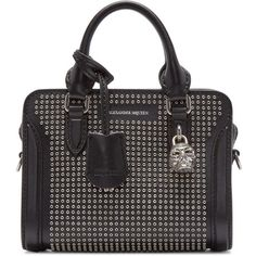 Alexander McQueen Black Studded Skull Padlock Tote ($1,330) ❤ liked on Polyvore featuring bags, handbags, tote bags, tote purse, studded handbags, structured handbag, tote handbags and zip tote