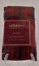 Set of 4 Holiday Napkins Villager Liz Claiborne Red Green Plaid New