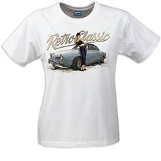 Retro Classic 1963 Karmann Ghia Coupe (Early Beetle) and model Bethany Birks Ladies T-shirt