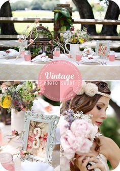 flowers in milk glass pitcher, vintage frames with names for place cards