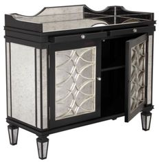 Salvatore Antiqued Mirrored Bar Cabinet from Z Gallerie.  I'm going to use this piece as a media console and hang my flat screen TV above it. #ZGallerie
