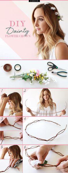 Conseils pratiques, comment fabriquer couronne de fleurs pour cheveux courts, longs, mi longs. Tutoriel pour faire par soi même sa couronne de coiffure.