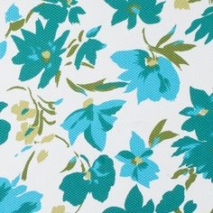 Teal Cyan Blue White Floral Printed Riviera Pique