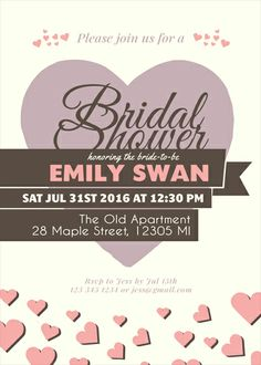 Pink and Purple Heart and Love Wedding Invitation Design. Customize for bridal shower, baby shower, birthday.