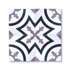 Mosaic Ozod Black and Purple Handmade Moroccan 8 x 8 inch Cement and Granite Floor or Wall Tile (Case of 12) (Ozod Black and Purple)