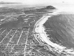 Early 1950s view looking south across Pacific Beach, Mission Beach, Point Loma, and  into Mexico. Note the Mexican Coronados Islands offshore in the upper right of  the photo.  Photo : F. Shepard.    San Diego, CA c.1950's