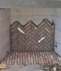 Tim Grant, from Superior Masonry Builders, is installing the antique firebrick in a herringbone pattern. The firebrick will be much lighter when it dries. Backyard Fireplace, Brick Fireplace, Fireplace Design, Fireplace Mantels, Fireplaces, Wood Stove Chimney, Patina Farm, Brick Patterns, Wood Siding