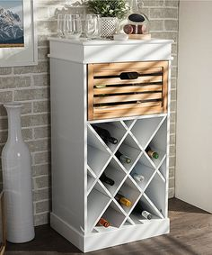 Baxton Studio White Light Brown Dresdon Country Style Cabinet Wine Rack