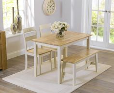 Buy the Chiltern 115cm Oak and Cream Dining Table with Bench and Chairs at Oak Furniture Superstore