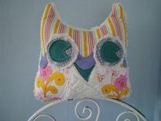 Purple Yellow & Pink  Plush Owl Pillow Lulu Owl by LovieBirds, $30.00