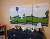 Triptych Golf Course, Golfer Painting