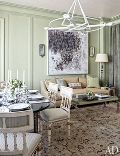 Michael S. Smith Revamps an Airy Chicago Duplex. Elsewhere in the room, a painting by Guillermo Kuitca hangs above a Roman Thomas sofa and a cocktail table by Magni Home Collection.