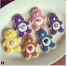"SweetsByMee on Instagram: ""Care Bear cookies for a very special little girl's birthday. Happy birthday Kaitlyn! #sweetsbymee #customcookies #carebear #cookies…"" • Instagram"