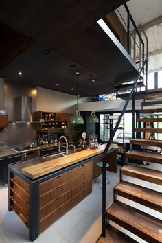 n industrial loft design was meant for an artist and it combines the best of both worlds. A living area and a workshop. This industrial interior loft is a wonde Industrial Kitchen Design, Vintage Industrial Decor, Industrial Interiors, Industrial House, Vintage Home Decor, Industrial Shelving, Industrial Lighting, Industrial Kitchens, Industrial Metal
