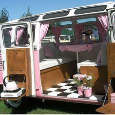 Pink camper interior