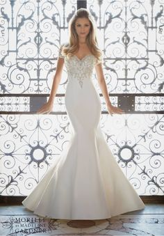 Wedding Dresses and Wedding Gowns by Morilee featuring Crystallized Embroidery on Duchess Satin Colors Available: White/Silver, Ivory/Silver