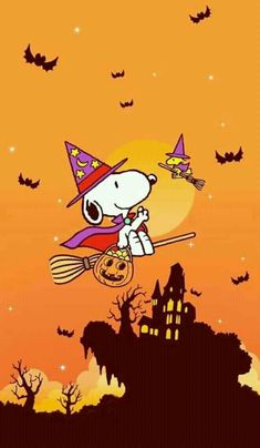 (no words) –Peanuts Gang/Snoopy - Halloween Wallpaper