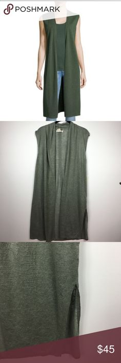 Cynthia Rowley>sleeveless longline linen vest 100% linen longline vest/open cardigan by Cynthia Rowley. Sage green color. Side vents. Hand wash cold. NWT. 4/20/17 Top Trends Party Host Pick by @kseniasles! Cynthia Rowley Jackets & Coats Vests
