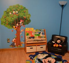 Quintin's finished Mickey Mouse Bedroom!  This is his reading corner.  :)