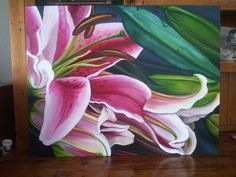 Tiger Lilies: 90cm x 70xm acrylic on canvas; $550 SOLD