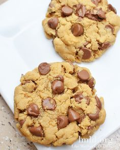 Peanut butter and chocolate chip cookies for two! This recipe makes just 4 large cookies