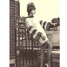 Big Needle Bell Sleeve Mini Dress Scarf Knitting Pattern.   Here is a mod 1960s look that will pair perfectly with skinny jeans or leggings. Or, if you are trully daring, wear as it was meant - a mini dress. This pattern contains instructions to knit, crochet edges, the dress shown above. A super easy pattern, knitted with jumbo jet needles, is has long bell sleeves with three fashionable stripes. A coordinating scarf to sling around the neck (in whatever position you may like) is also…