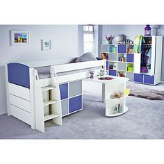 Buy Stompa Uno S Plus Mid-Sleeper with Pull-Out Desk, 3 Drawer Chest and 4 Door Cube Unit Online at johnlewis.com