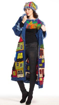 BLAUWE HUNDERTWASSER handgemaakte gebreide jas voor vrouwen