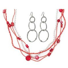 HYDE PARK PICNIC VALUE SET - SET OF 2--Casual, dangling multistrand necklace, featuring red coral, shell and resin pearls also has a silver finish strand to tie in the triple hoop earrings with fish hook backs.  Buy the Earrings for $19 and get the Necklace FREE.